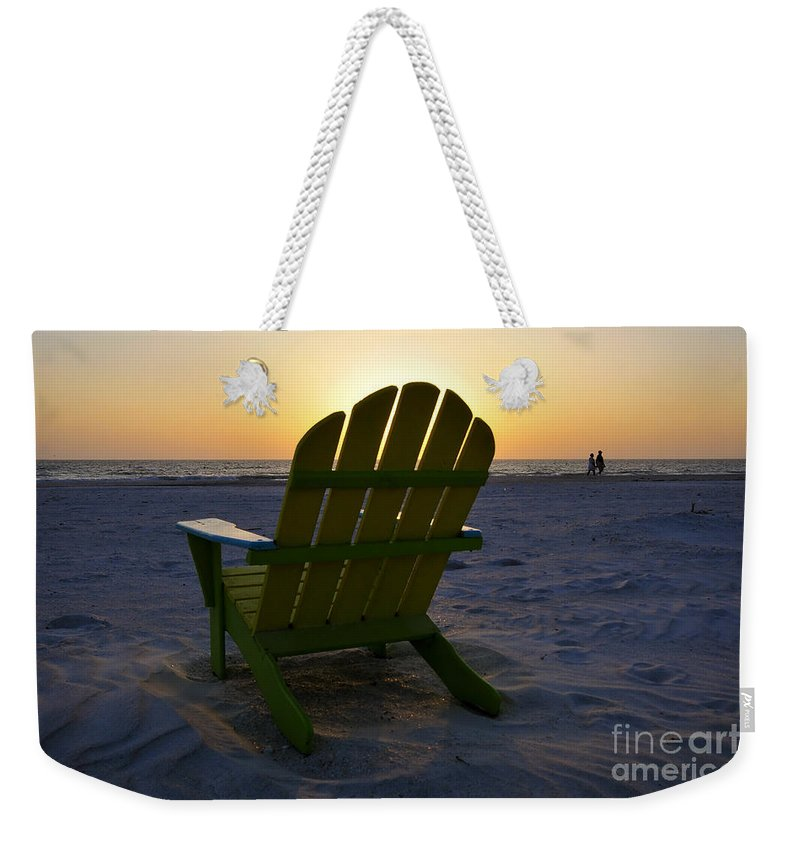 Sunset Weekender Tote Bag featuring the photograph Beach Chair Sunset by David Lee Thompson