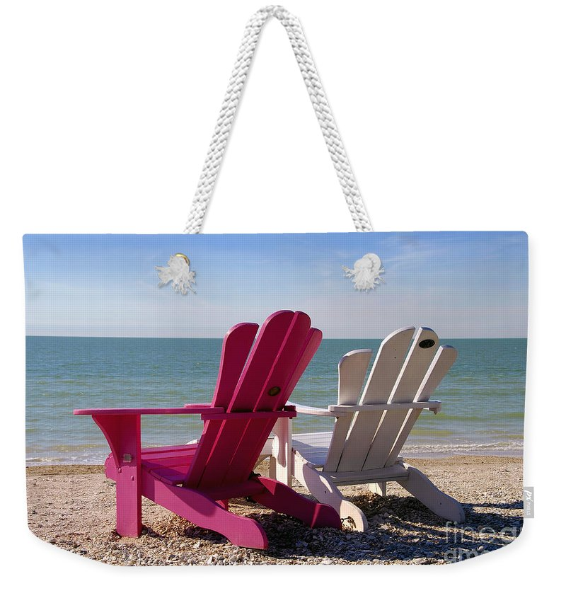 Beach Chairs Weekender Tote Bag featuring the photograph Beach Chairs by David Lee Thompson