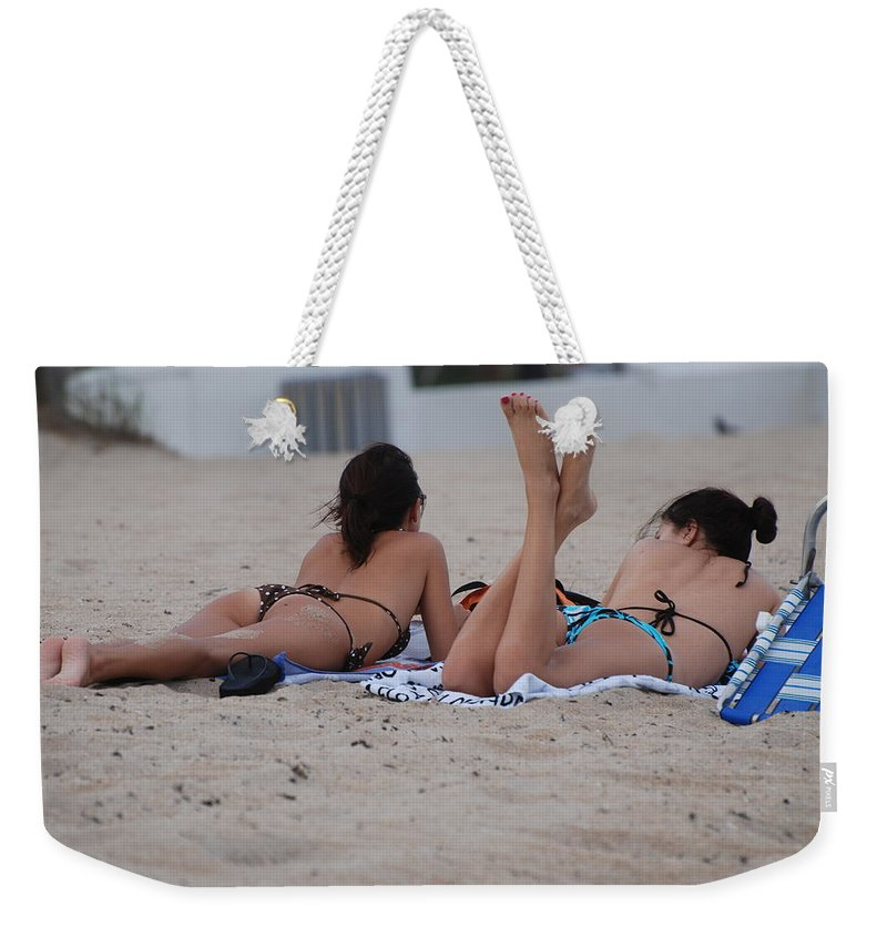 Girls Weekender Tote Bag featuring the photograph Beach Combers by Rob Hans