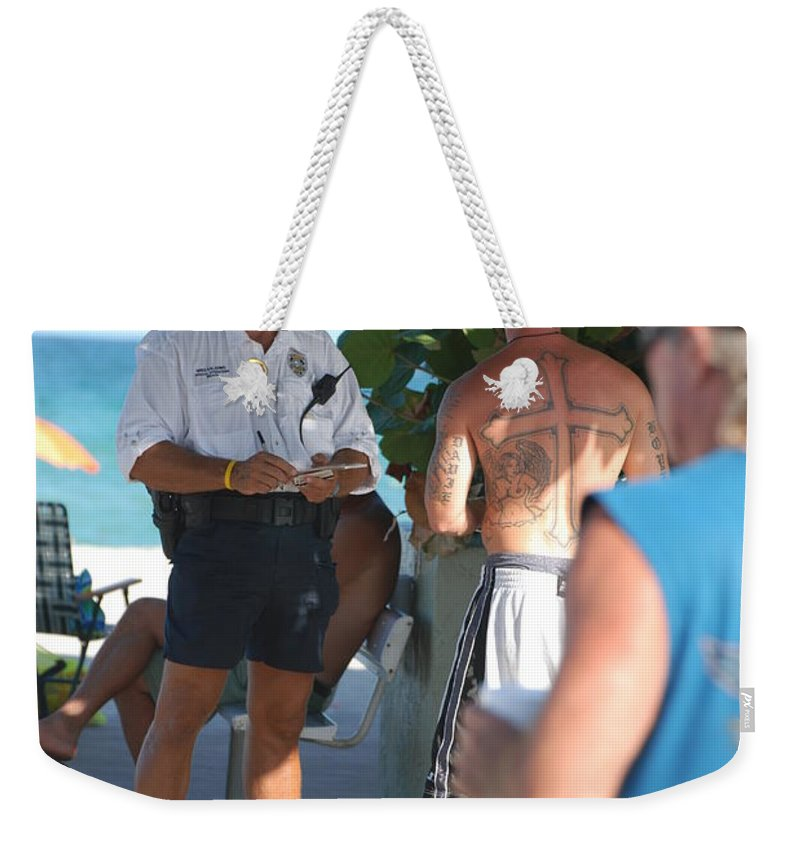 Cops Weekender Tote Bag featuring the photograph Beach Cops And Christ by Rob Hans