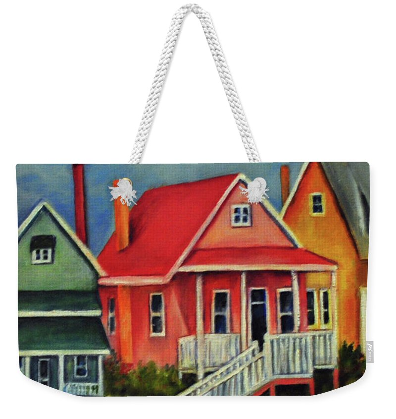 Beach Weekender Tote Bag featuring the painting Beach Cottage by Carolyn Shireman