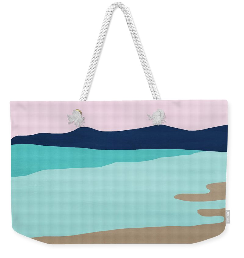 Beach Weekender Tote Bag featuring the mixed media Beach Cove- Art by Linda Woods by Linda Woods