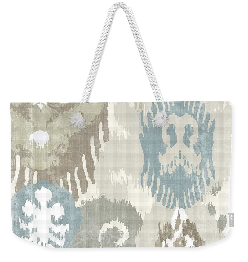 Ikat Weekender Tote Bag featuring the painting Beach Curry I Ikat by Mindy Sommers
