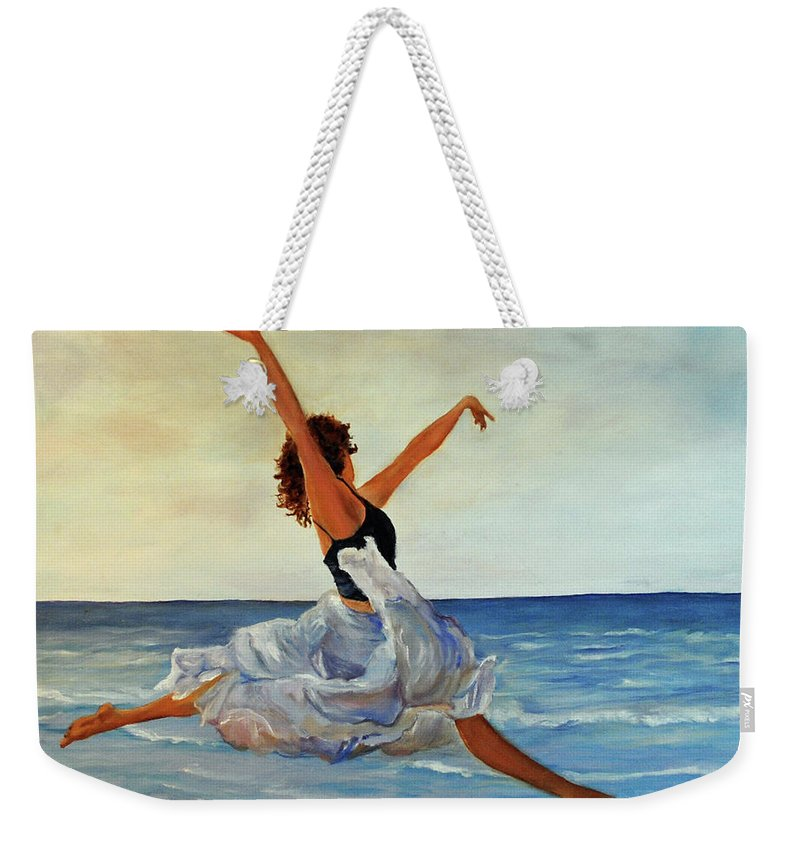 Girl Weekender Tote Bag featuring the painting Beach Dancer by Carolyn Shireman