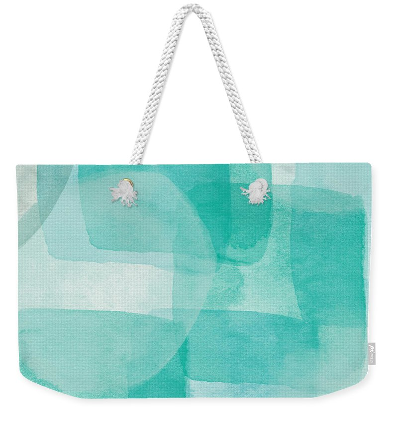 Abstract Weekender Tote Bag featuring the painting Beach Glass- Abstract Art by Linda Woods by Linda Woods