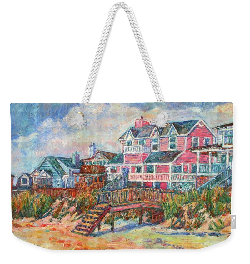Landscape Weekender Tote Bag featuring the painting Beach Houses At Pawleys Island by Kendall Kessler