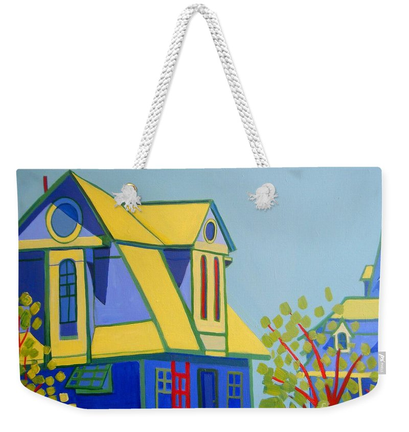 Beach Weekender Tote Bag featuring the painting Beach Houses by Debra Bretton Robinson
