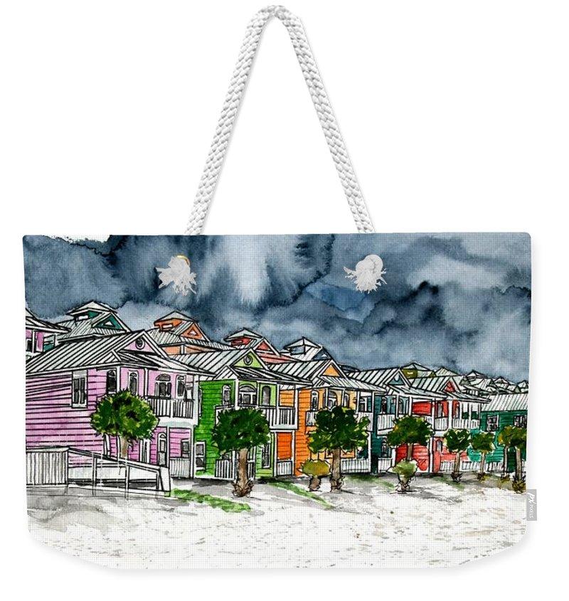 Watercolor Weekender Tote Bag featuring the painting Beach Houses Watercolor Painting by Derek Mccrea
