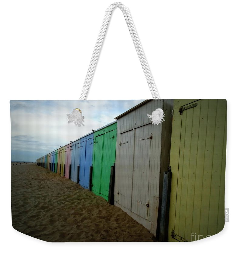 Beach Hut Weekender Tote Bag featuring the photograph Beach Huts by Lainie Wrightson