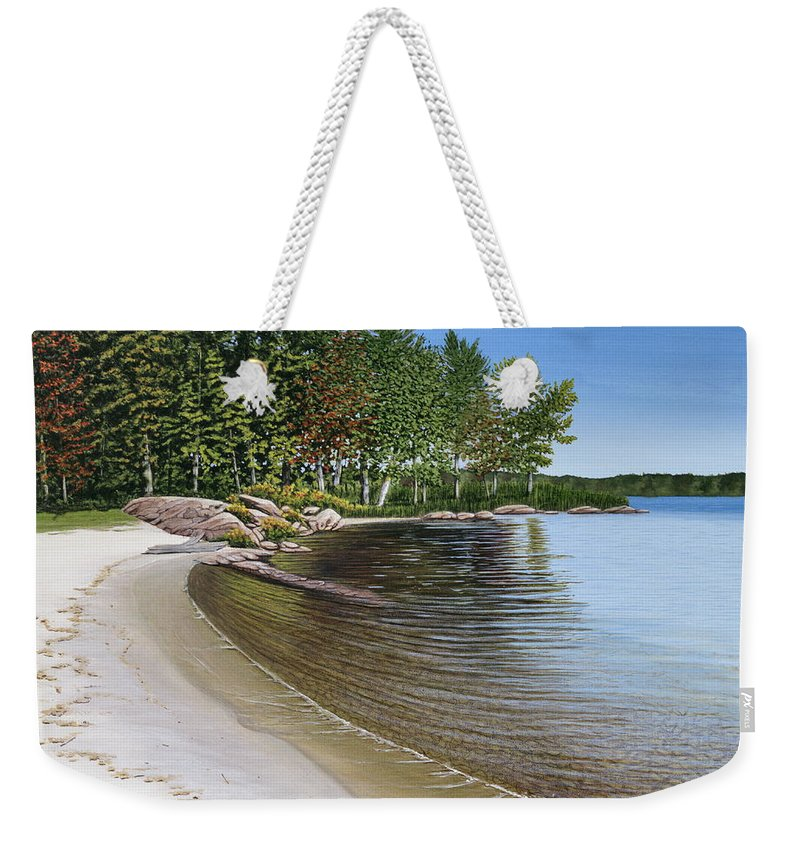 Landscapes Weekender Tote Bag featuring the painting Beach In Muskoka by Kenneth M Kirsch