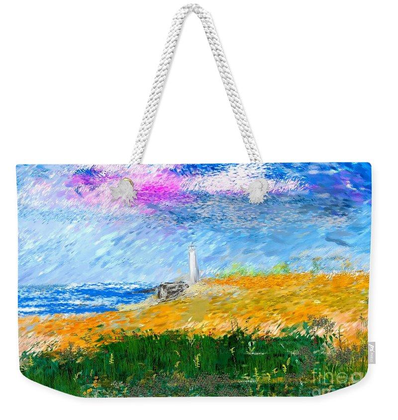 Digital Painting Weekender Tote Bag featuring the digital art Beach Lighthouse by David Lane