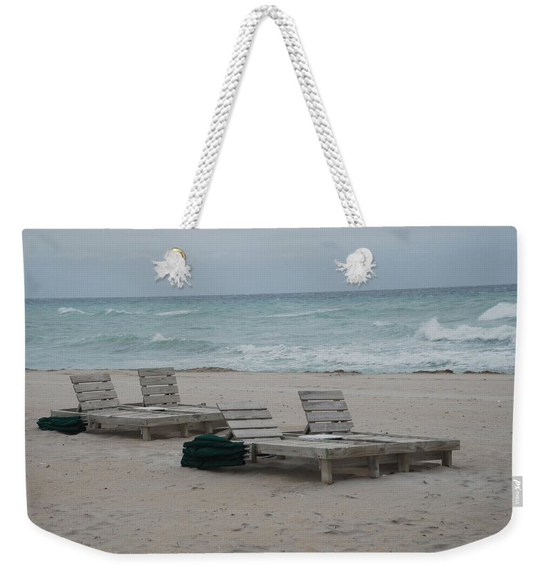 Chairs Weekender Tote Bag featuring the photograph Beach Loungers by Rob Hans