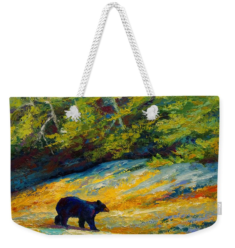 Bear Weekender Tote Bag featuring the painting Beach Lunch - Black Bear by Marion Rose