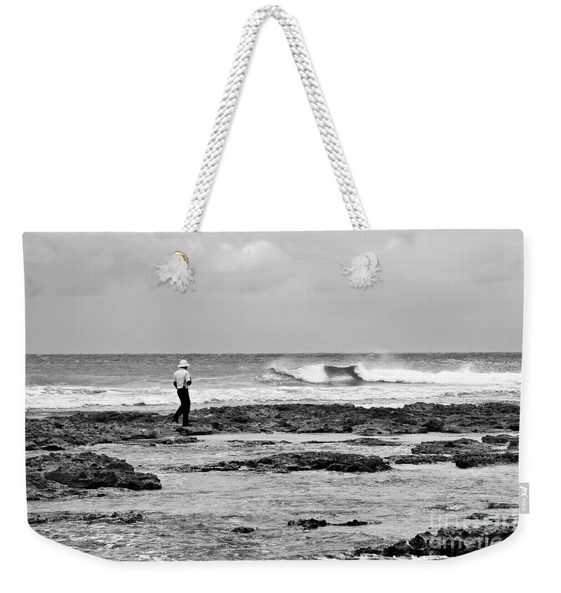 Black And White Weekender Tote Bag featuring the photograph Beach Patrol by Teresa Zieba