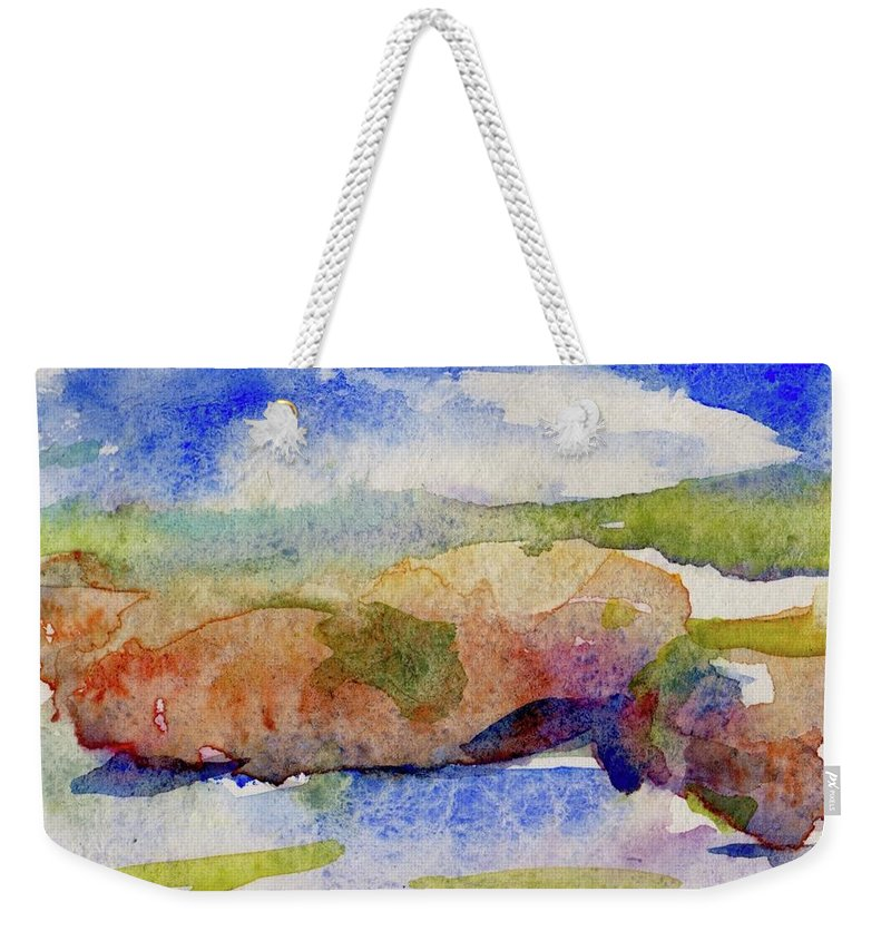 Color Wash Weekender Tote Bag featuring the painting Beach Rocks by Thomas Hughes