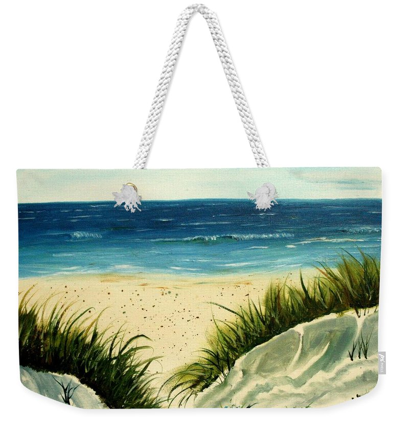Beach Weekender Tote Bag featuring the painting Beach Sand Dunes Acrylic Painting by Derek Mccrea