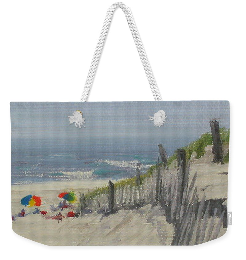 Beach Weekender Tote Bag featuring the painting Beach Scene Miniature by Lea Novak