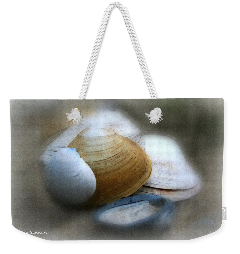 Nature Weekender Tote Bag featuring the photograph Beach Shells by Linda Sannuti