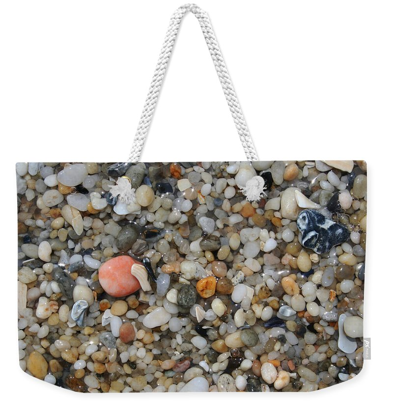 Beach Weekender Tote Bag featuring the photograph Beach Stones by Linda Sannuti