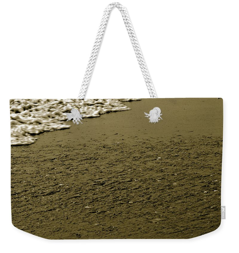 Water Weekender Tote Bag featuring the photograph Beach Texture by Jean Macaluso