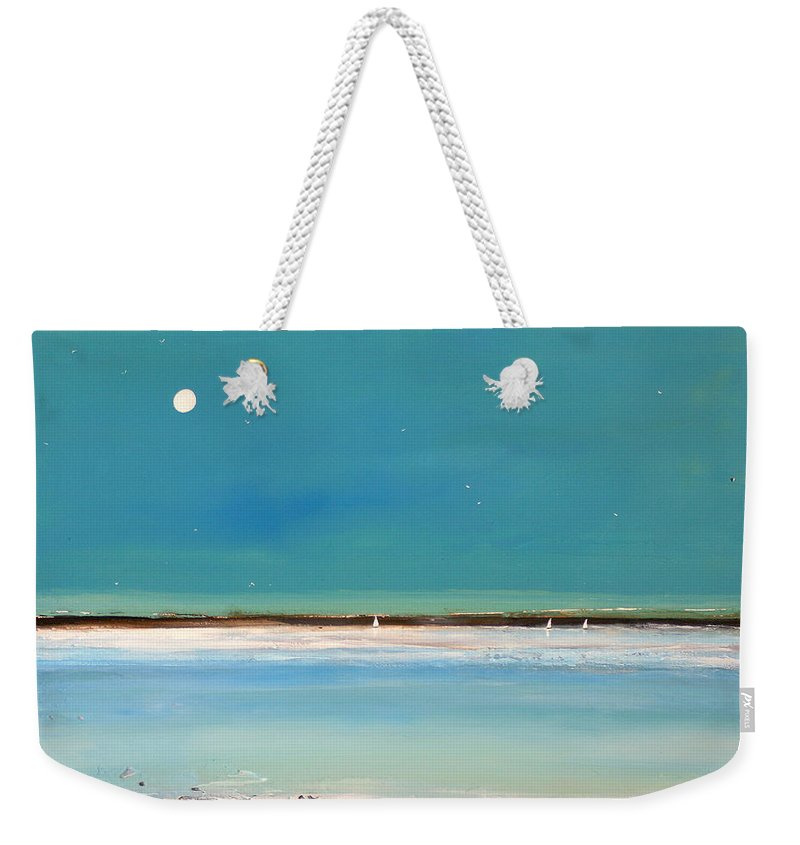 Minimalist Art Weekender Tote Bag featuring the painting Beach Textures by Toni Grote