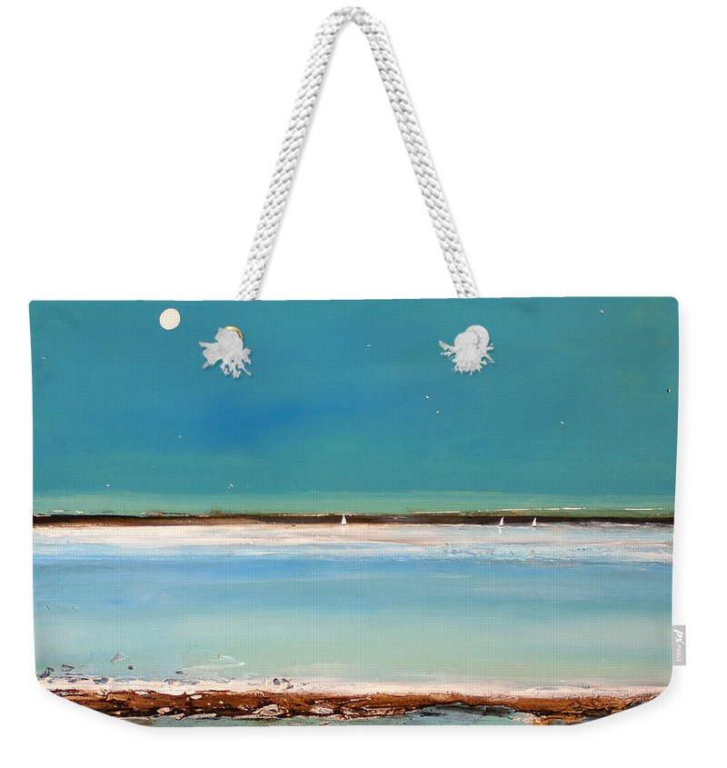 Landscape Weekender Tote Bag featuring the painting Beach Textures by Toni Grote