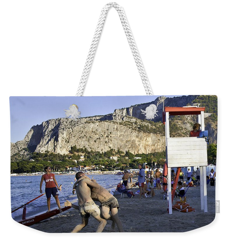 Beach Weekender Tote Bag featuring the photograph Beach Throw Down by Madeline Ellis