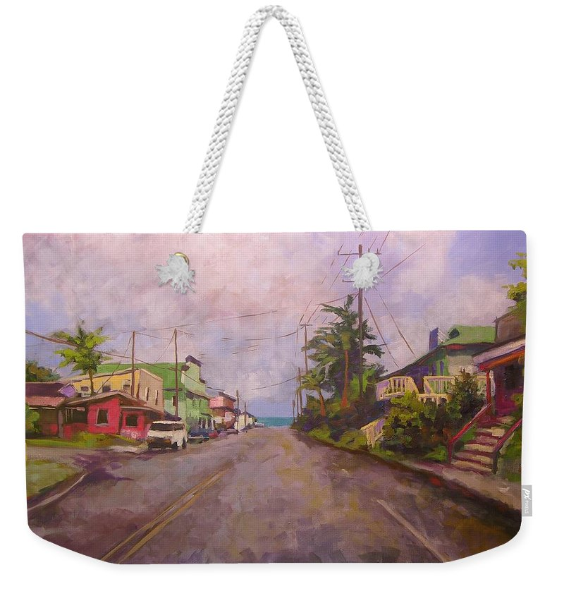 Tropical Weekender Tote Bag featuring the painting Beach Town by Mary McInnis