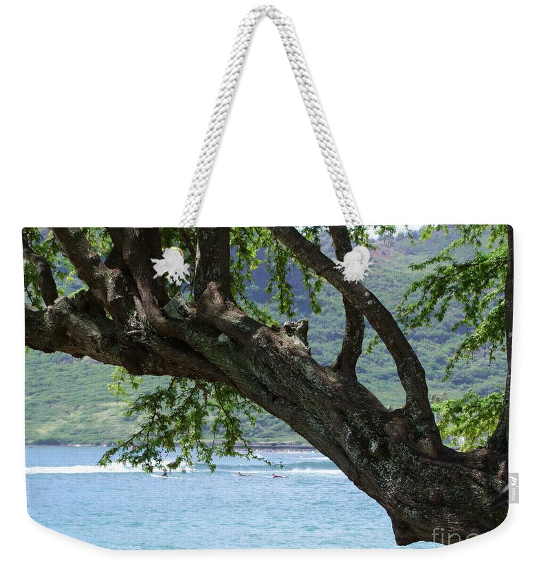 Blue Weekender Tote Bag featuring the photograph Beach Tree by Mary Deal