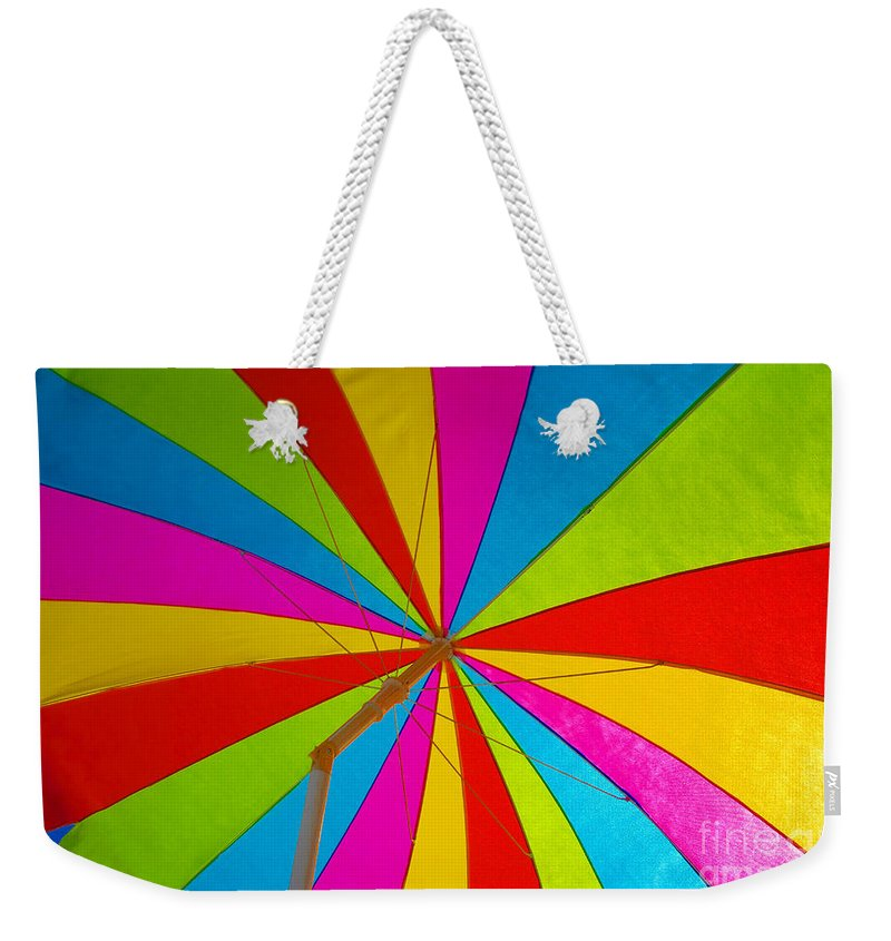 Beach Weekender Tote Bag featuring the photograph Beach Umbrella by David Lee Thompson