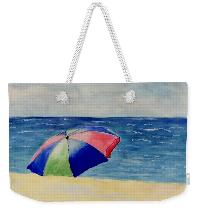 Beach Weekender Tote Bag featuring the painting Beach Umbrella by Jamie Frier