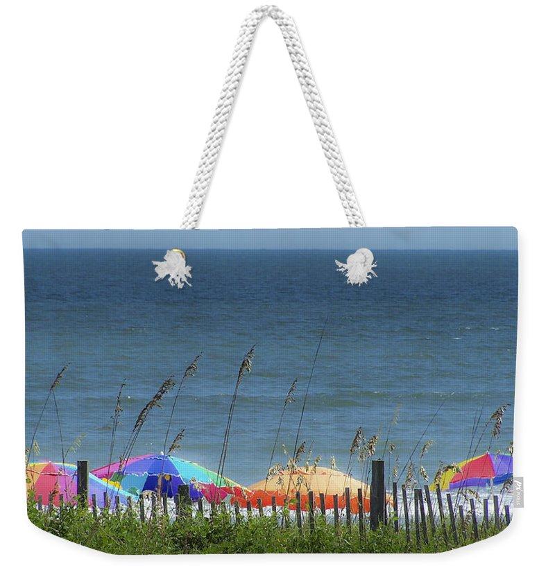 Beach Weekender Tote Bag featuring the photograph Beach Umbrellas by Teresa Mucha