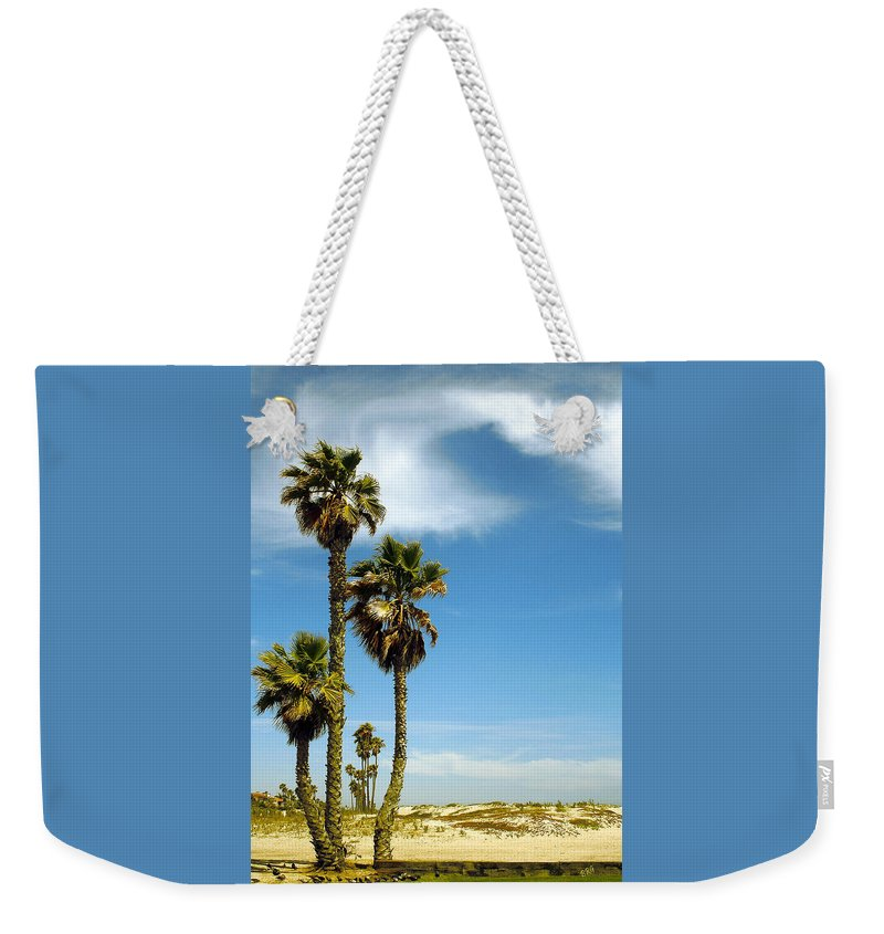 Palm Tree Weekender Tote Bag featuring the photograph Beach View With Palms And Birds by Ben and Raisa Gertsberg