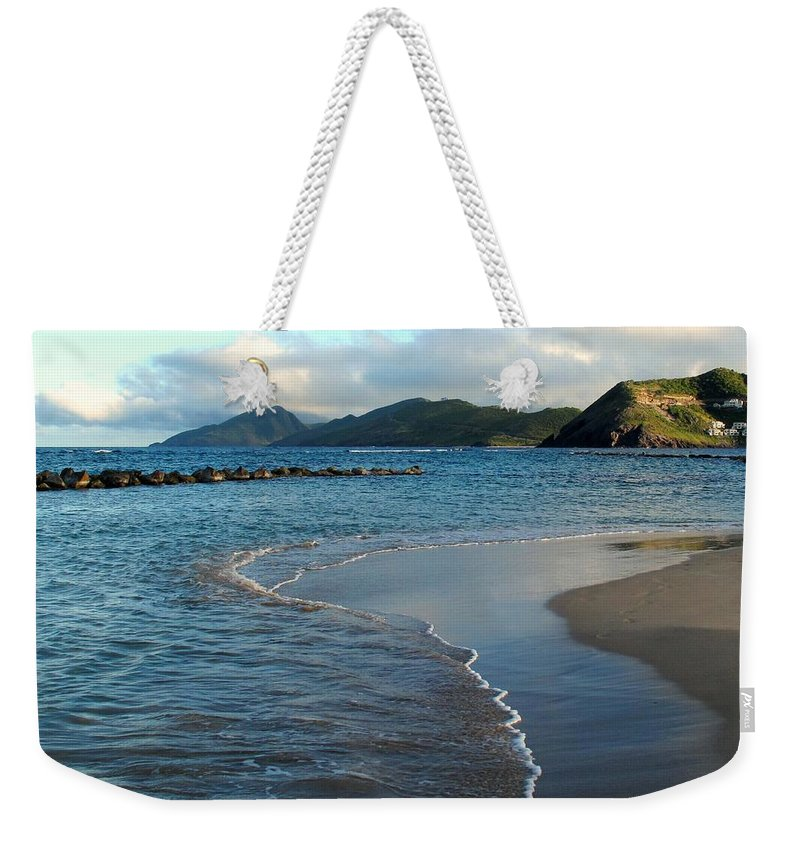 St Kitts Weekender Tote Bag featuring the photograph Beach Walk by Ian MacDonald