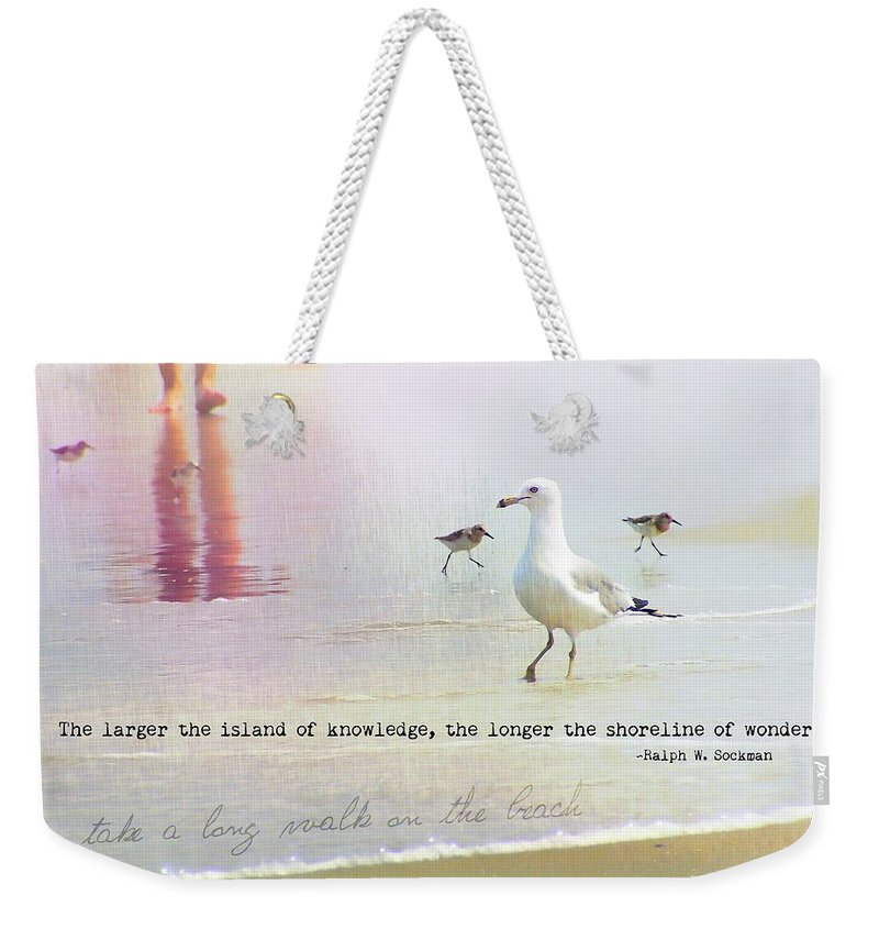 Beach Weekender Tote Bag featuring the photograph Beach Walk Quote by JAMART Photography