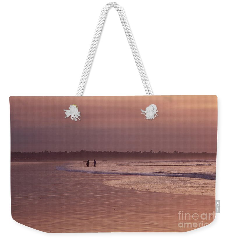 Ecuador Weekender Tote Bag featuring the photograph Beachcombers by Kathy McClure