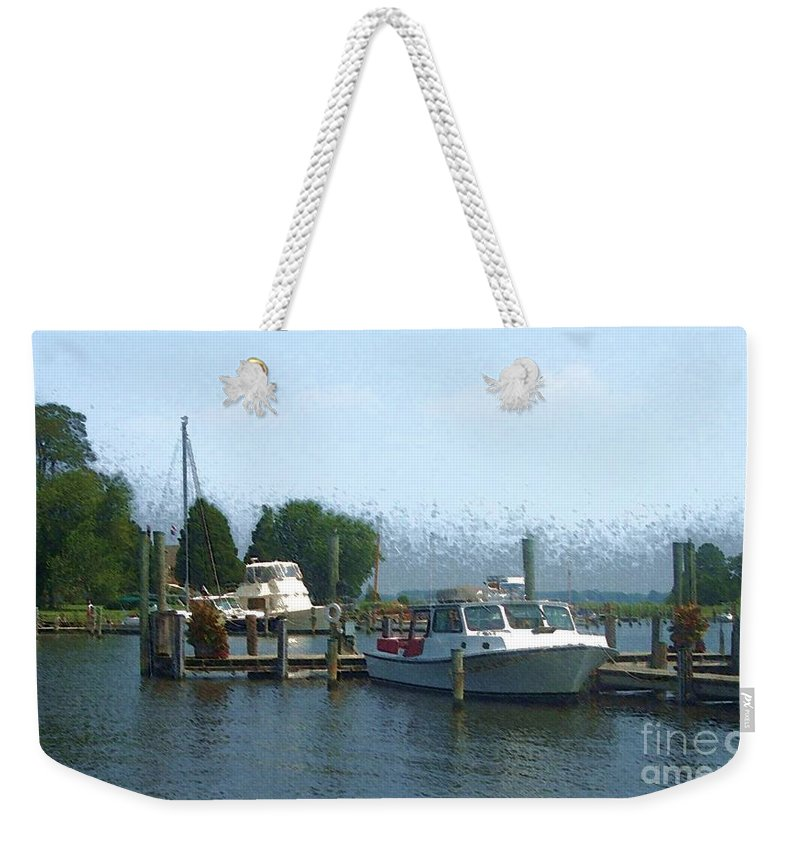 Boat Weekender Tote Bag featuring the photograph Beached Buoys by Debbi Granruth