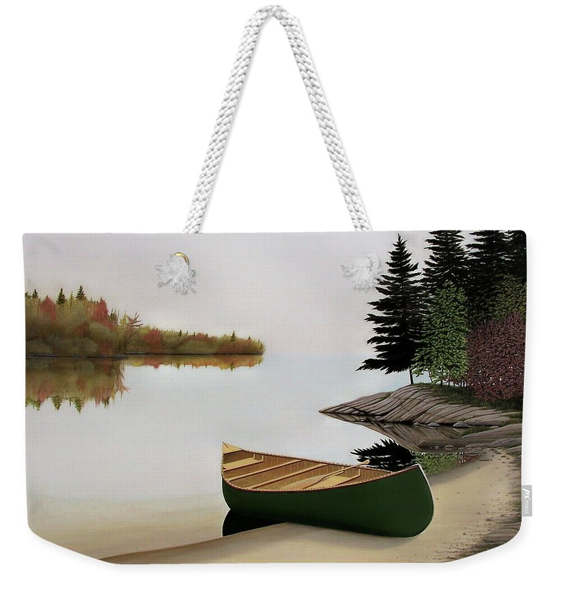 Canoe Paintings Weekender Tote Bag featuring the painting Beached Canoe In Muskoka by Kenneth M Kirsch