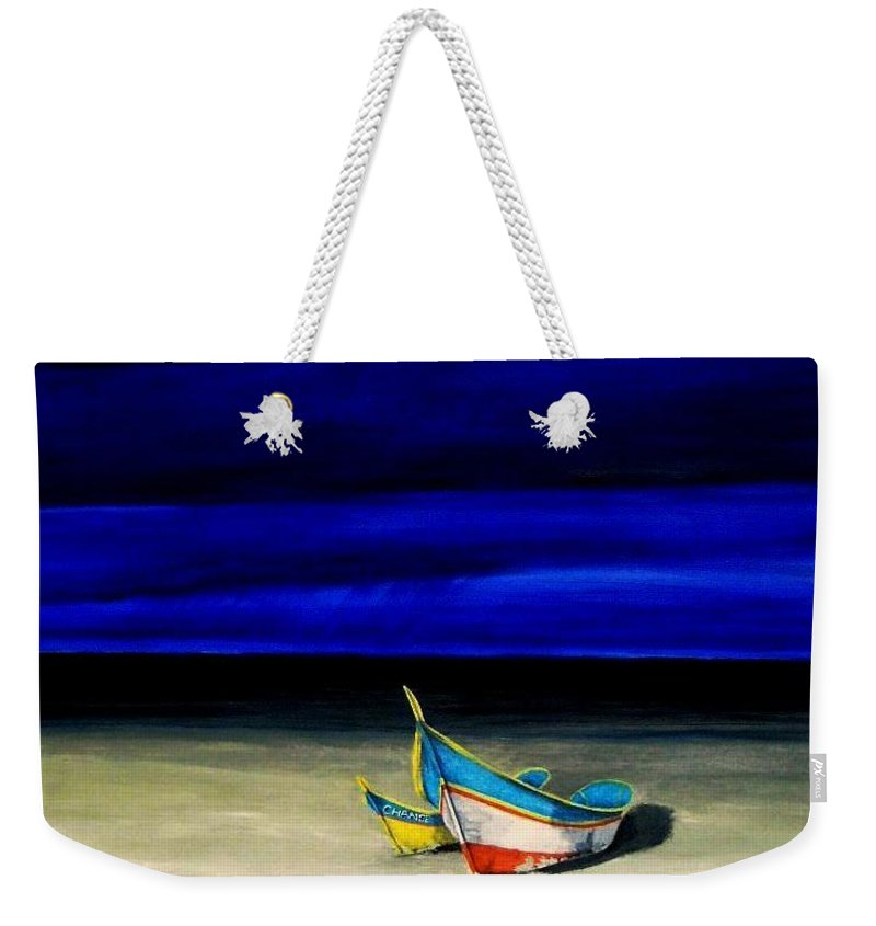 Landscape Painting Weekender Tote Bag featuring the painting Beached by Edith Peterson