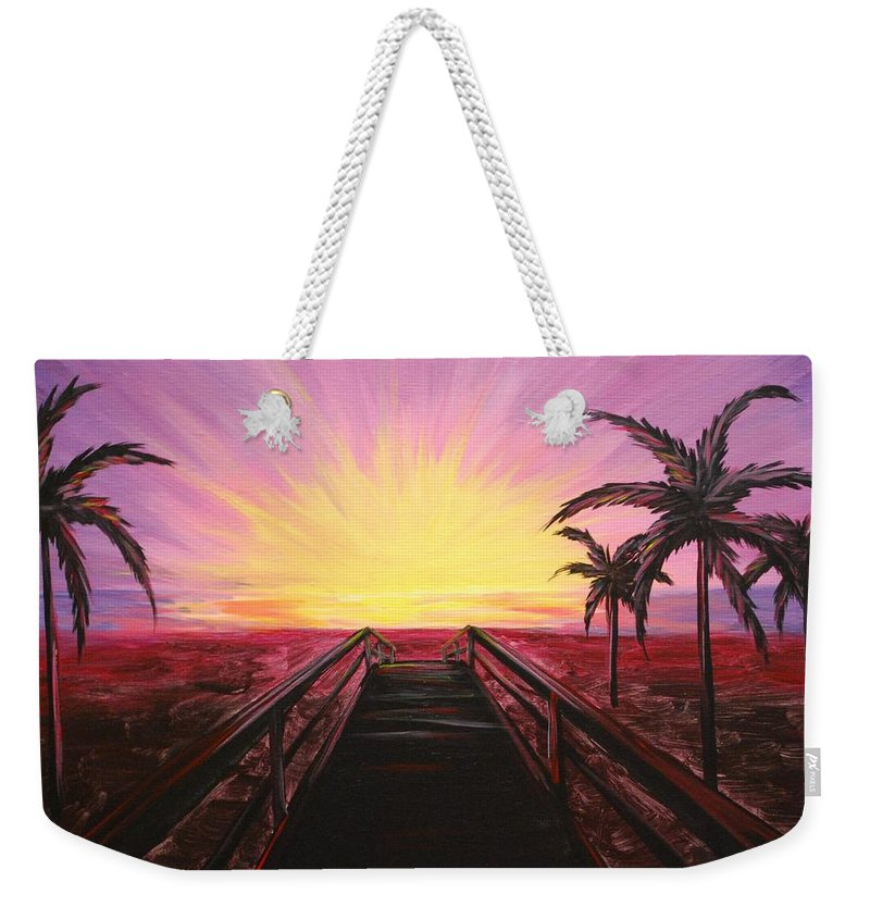 Beach Weekender Tote Bag featuring the painting Beachside Sunset by Emily Page