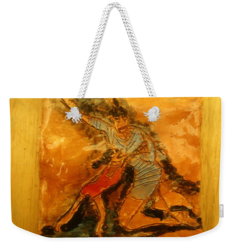 Jesus Weekender Tote Bag featuring the ceramic art Beachtime - Tile by Gloria Ssali