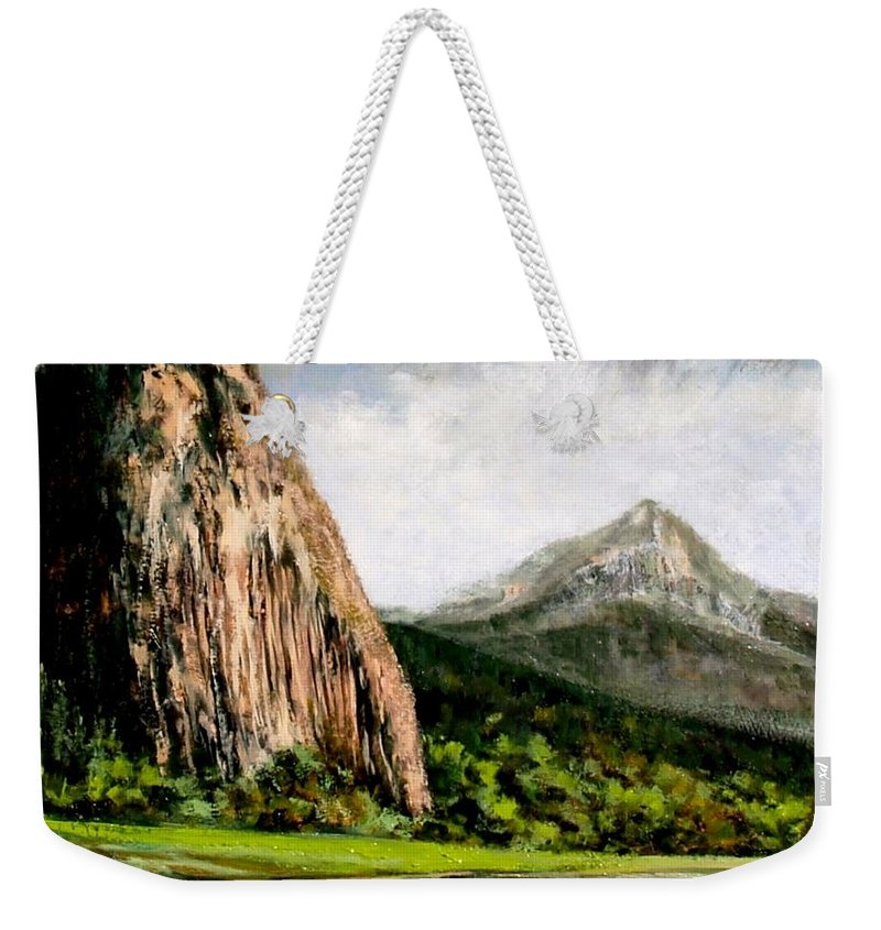 Landscape Weekender Tote Bag featuring the painting Beacon Rock Washington by Jim Gola