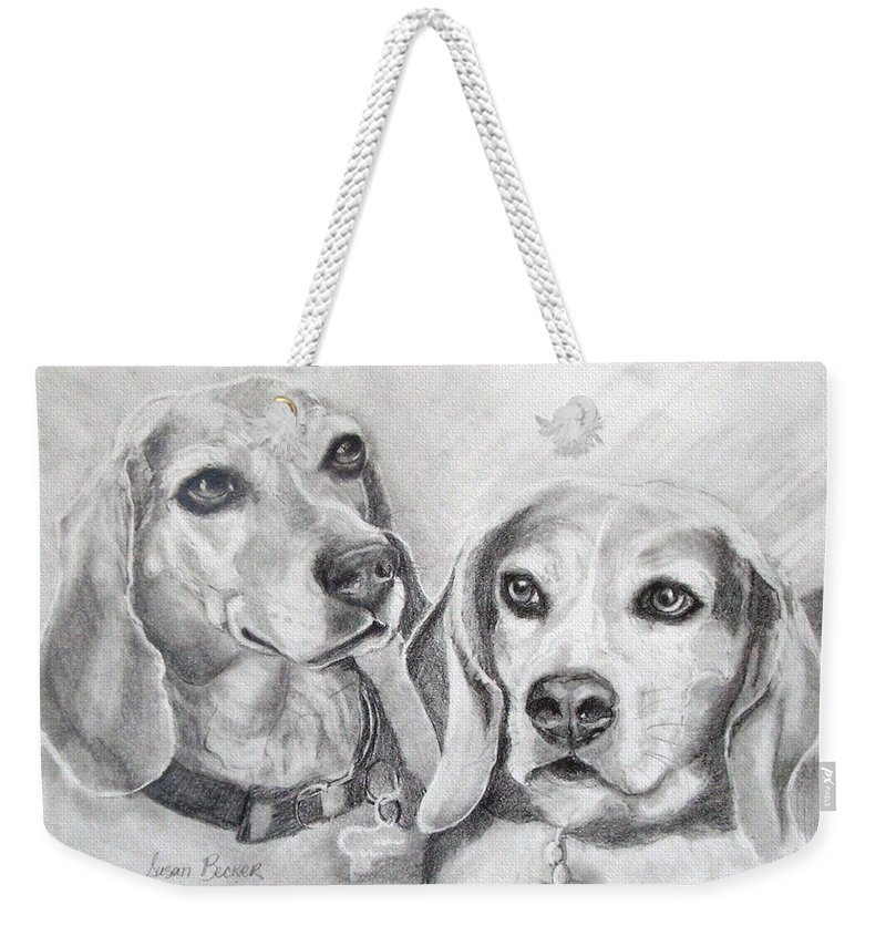 Dogs Weekender Tote Bag featuring the drawing Beagle Boys by Susan A Becker