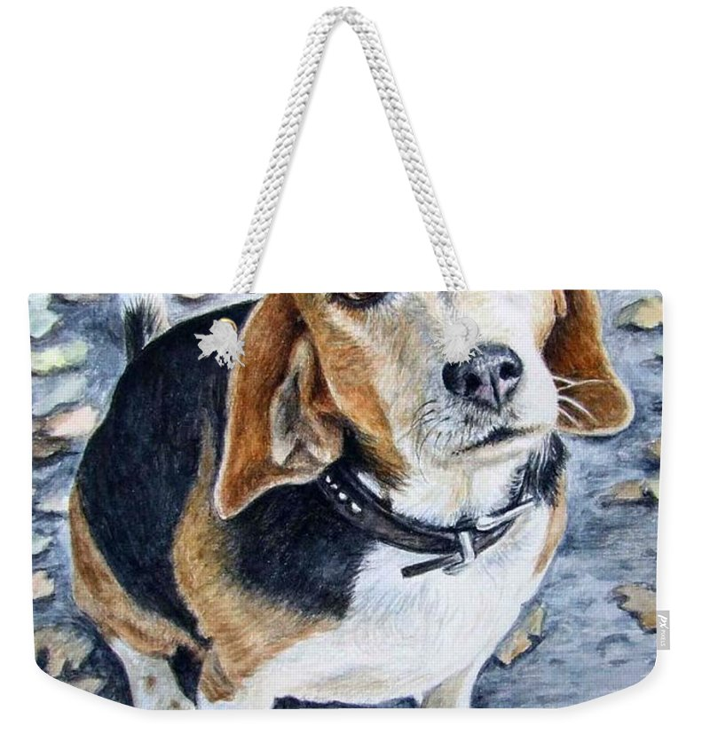 Dog Weekender Tote Bag featuring the painting Beagle Nanni by Nicole Zeug