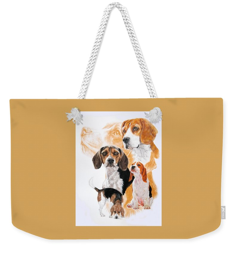 Hound Weekender Tote Bag featuring the mixed media Beagle Hound Medley by Barbara Keith