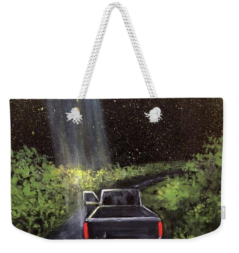 Ufo Weekender Tote Bag featuring the painting Beam by Randy Burns