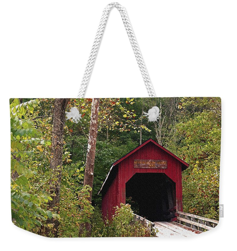 Covered Bridge Weekender Tote Bag featuring the photograph Bean Blossom Bridge I by Margie Wildblood