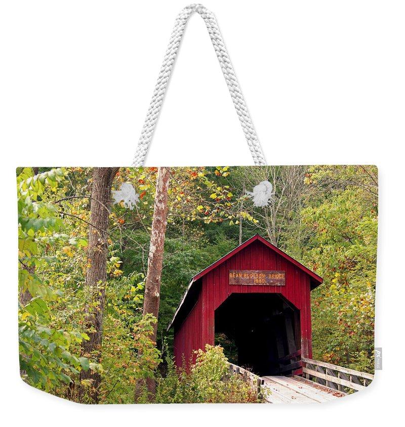 Covered Bridge Weekender Tote Bag featuring the photograph Bean Blossom Bridge II by Margie Wildblood