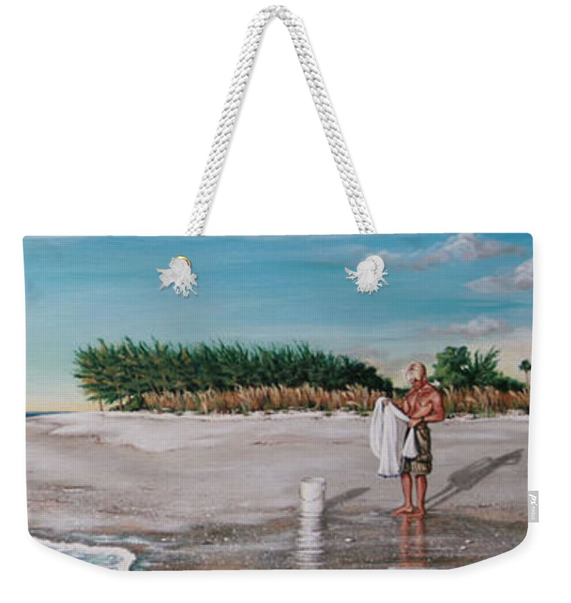 Beach Weekender Tote Bag featuring the painting Bean Point by Joan Garcia
