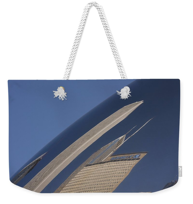 Chicago Windy City Wind Sky Blue Bean Reflection Art Park Building City Metro Urban Weekender Tote Bag featuring the photograph Bean Reflection by Andrei Shliakhau
